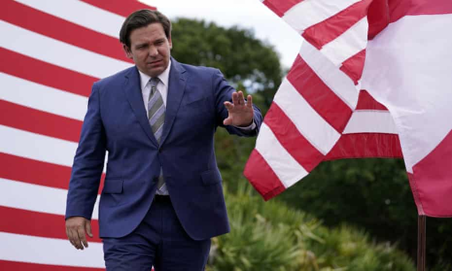 Governor Ron DeSantis is 'taking a page from Trump's playbook', Democrats allege.