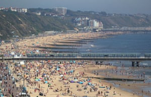 Crowded beach in Bournemouth