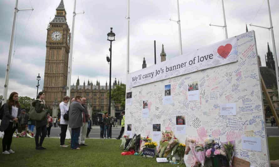 Tributes for Jo Cox at Parliament Square in London.