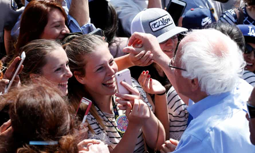 Bernie Sanders greets supporters after a campaign rally in Santa Maria, California.