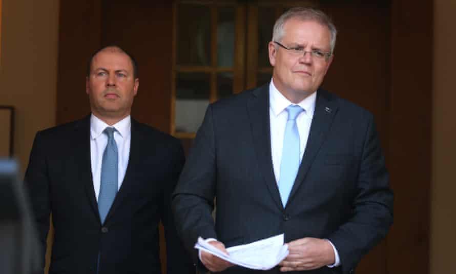 Australian treasurer Josh Frydenberg and prime minister Scott Morrison at a press conference in Canberra
