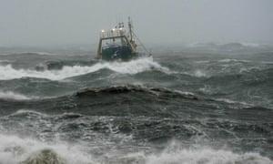 Trawler on stormy seas