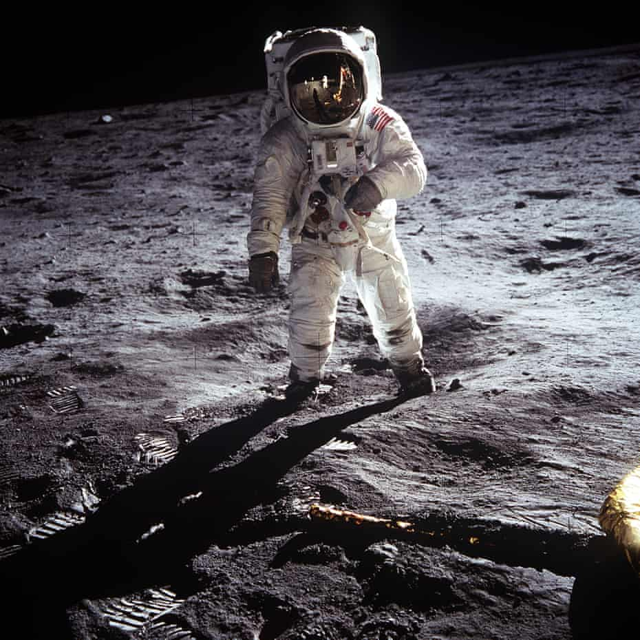 'A triumph of human consciousness in an otherwise mindless universe' … Neil Armstrong's double-horizon shot of Buzz Aldrin.