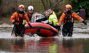 Firefighters rescue staff and residents from a care home in the village of Whitchurch on the banks of the River Wye
