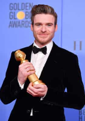 Actor Richard Madden with Best Performance by an Actor in a Television Series Drama Golden Globe he won for Bodyguard, January 2019