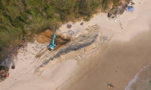 Whale exhumation at Nobbys beach, NSW