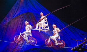 Thrills...and spills? Tightrope cyclists in Kooza by Cirque Du Soleil at the Royal Albert Hall.