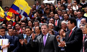 Colombia's president, Juan Manuel Santos, speaks after delivering the peace deal to congress.