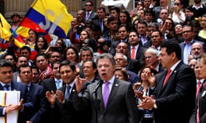 Colombia's president Juan Manuel Santos addresses the public after delivering the deal to Congress.