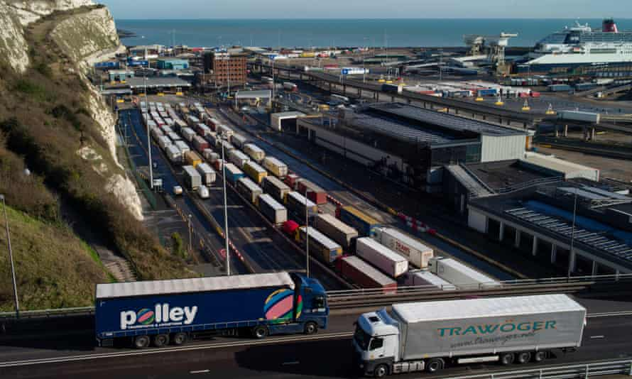Freight lorries queue at Dover, January 2021.