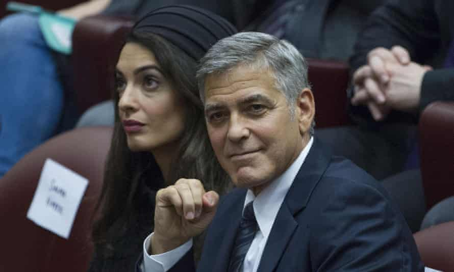 Actor George Clooney and his wife, lawyer Amal, at the Vatican.