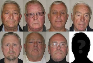 Top, left to right: Terry Perkins, John Collins, Daniel Jones and Brian Reader. Bottom, left to right: Hugh Doyle, William Lincoln, Carl Wood and the mystery man who hasn't been found, 'Basil'.