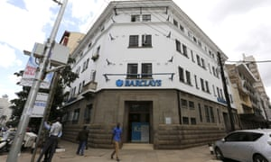 The Barclays bank market branch along Muindi Mbingu street in Kenya's capital Nairobi.