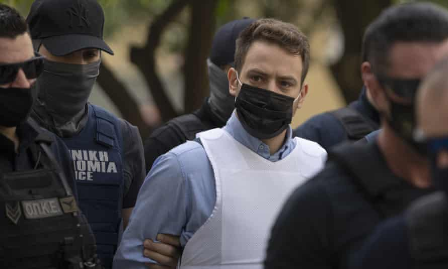 Babis Anagnostopoulos wore a bulletproof vest to court in Athens.