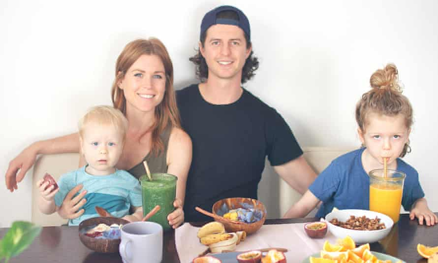 Erin Marrs and her husband Paul with Charles, 18 months, and Oliver, five. All four are vegan.