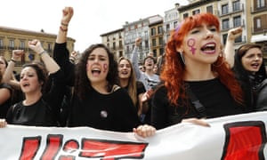 A rally in Pamplona after the acquittal of five men on rape charges