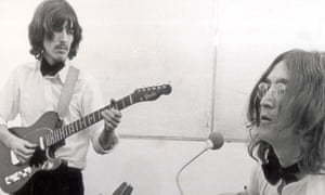 George Harrison and John Lennon recording Let It Be.