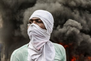 Port-au-Prince, HaitiOpposition protesters burn tyres during a demonstration calling for the departure of President Jovenel Moïse as they march through the streets of Port-au-Prince.