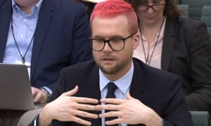 Christopher Wylie appearing before the digital, culture, media and sport select committee in the House of Commons.
