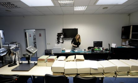 Marcela Strouhalova, a librarian, manages Communist-era secret police files on Ivana Trump at the Security Service Archive in Prague, Czech Republic.