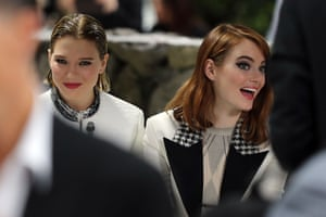 Léa Seydoux and Emma Stone in the front row for the Cruise collection