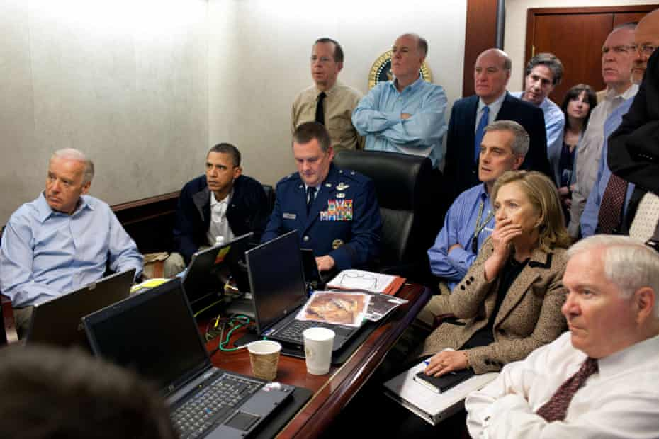 Joe Biden, Obama and Hillary Clinton with White House staff and members of the national security team during the mission against Osama bin Laden in 2011.