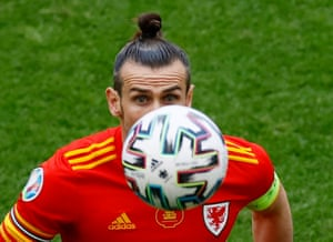 Wales hero Gareth Bale with eyes on the ball.