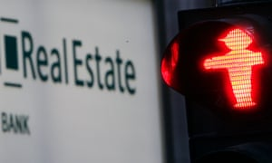 The German lender Hypo Real Estate bank with  a Berlin red traffic light signal