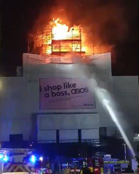 Screengrab from a video posted on Twitter of firefighters dealing with the blaze at Koko in Camden Town