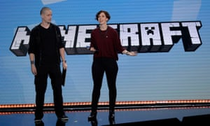Lydia Winters (right) and Sax Persson, of Minecraft Team, speak at Microsoft's E3 conference.