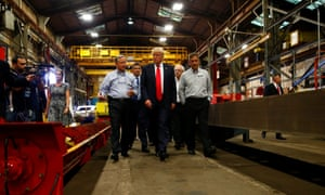 Donald Trump visits McLanahan Corporation headquarters in Hollidaysburg, Pennsylvania.