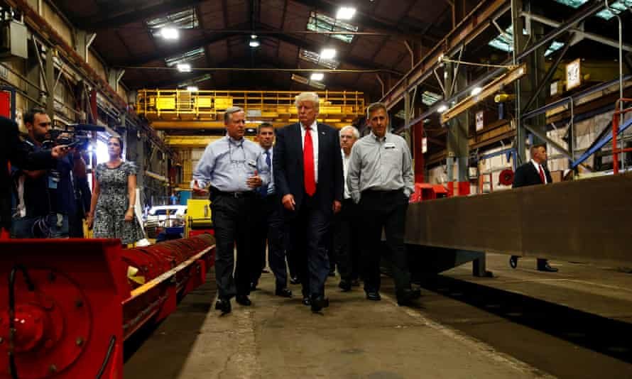 Donald Trump visits McLanahan Corporation headquarters in Hollidaysburg, Pennsylvania.