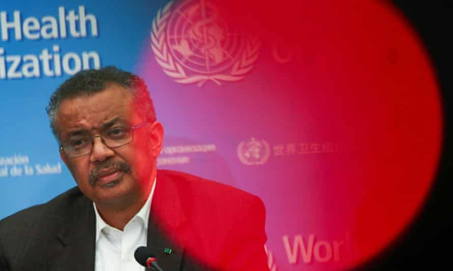 Tedros Adhanom Ghebreyesus, director-general of the World Health Organization, speaking to the media about Covid-19 in January 2020.
