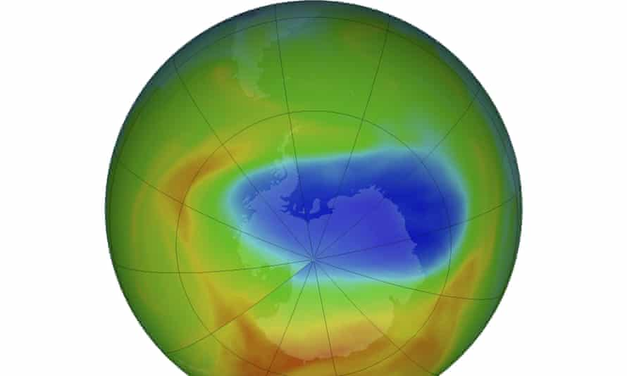 The hole in the ozone layer over Antarctica which prompted the ban on CFCs.