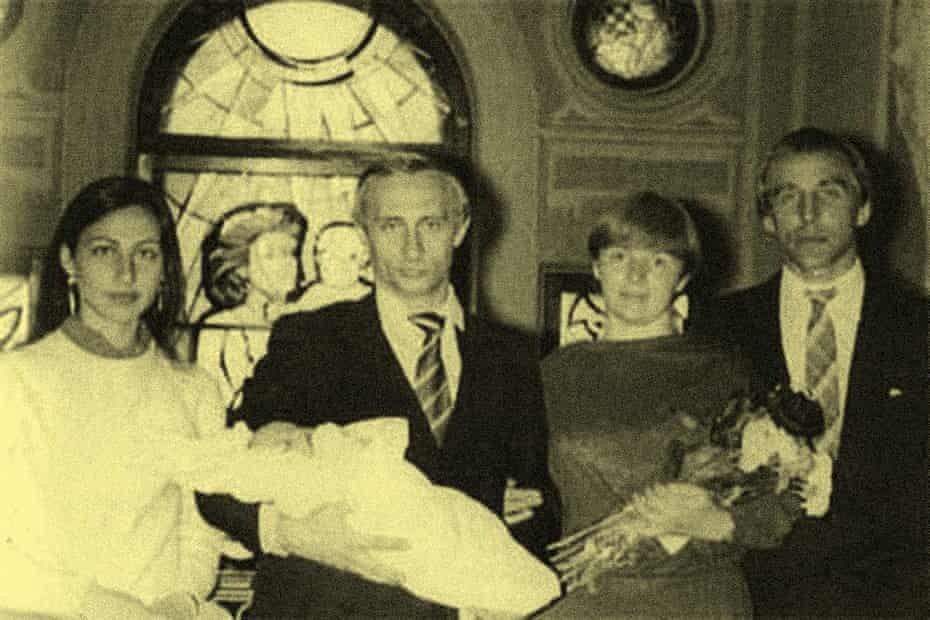 Ira and Sergei Roldugin at the christening of Putin's daughter Maria