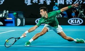Novak Djokovic in action against Jan-Lennard Struff.