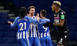Dale Stephens celebrates scoring Brighton's first goal against Crystal Palace in the two sides' last meeting, an FA Cup third-round tie that Brighton eventually won 2-1.