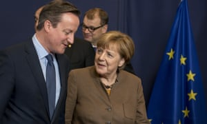 David Cameron with Angela Merkel at the EU summit in Brussels.