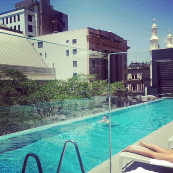 Rooftop bar at Next Hotel in Brisbane city centre, April 2015