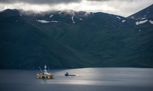 Shell 's drilling rig Polar Pioneer, shown here in a bay in Unalaska's Dutch Harbor, Alaska, had been unable to sink wells deep enough to hit oil until the safety vessel was in place.