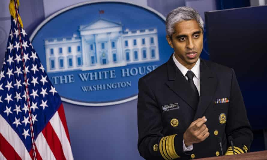 Surgeon General Vice Admiral Vivek Murthy during the daily White House Briefing in Washington on Thursday.