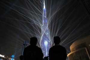 The Burj Khalifa lit up ready to usher in the New year during New Years celebrations in Dubai, United Arab Emirates.