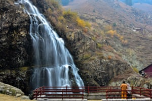Drang, India  Visitors explore the waterfalls on an autumn day about 40km from Srinagar, the summer capital of Jammu and Kashmir