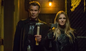 Feeling peckish ... Drew Barrymore and Timothy Olyphant in Santa Clarita Diet.