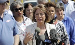 Jackie Speier, a California Democrat, speaks in McAllen, Texas.