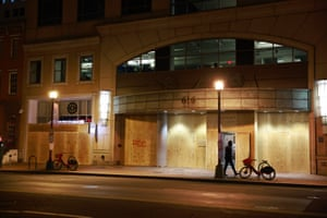 Stores are boarded up on the eve of the inauguration