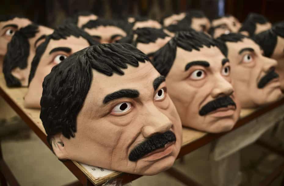 Masks of the Mexican drug trafficker Joaquin Archivaldo Guzmán Loera aka 'El Chapo' in Jiutepec, Morelos state.