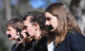 Students of the Australian National University participate in a protest after the release of the national student survey on sexual assault and sexual harassment in Canberra, Australia, 1 August 2017.