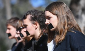 Students protest after release of the national student survey on sexual assault and sexual harassment in Canberra, Australia, 1 August 2017