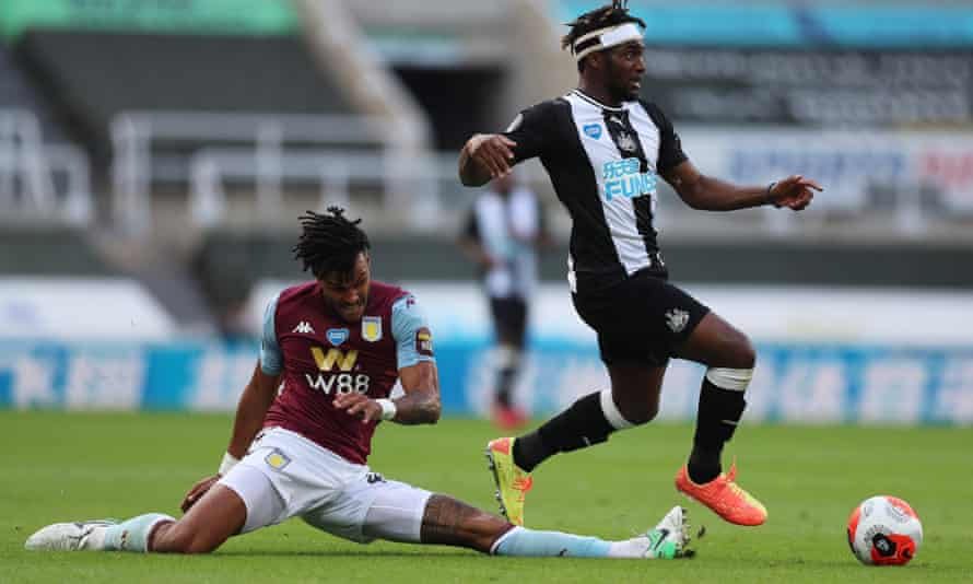 Allan Saint-Maximin skips away from Aston Villa's Tyrone Mings. Newcastle will lean heavily on their winger to help them stay up.